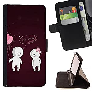 - Cute Love You Couple - - Prima caja de la PU billetera de cuero con ranuras para tarjetas, efectivo desmontable correa para l Funny HouseFOR Apple Iphone 5C