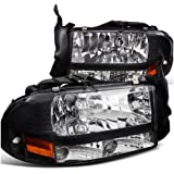 Spec-D Tuning 2LH-DAK97JM-ABM Dodge Dakota/ Durango Slt R/T Headlights W/Bumper Lights 1Pc. Black