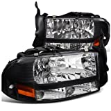 Spec-D Tuning 2LH-DAK97JM-ABM Dodge Dakota/ Durango Slt R/T Headlights W/Bumper Lights 1Pc. Black