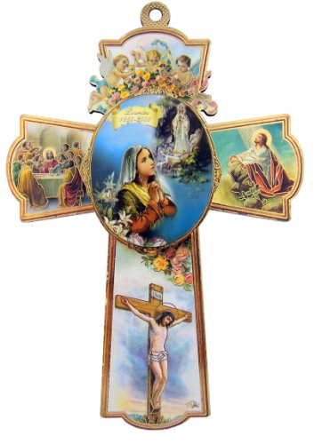 Religious Gifts Catholic Our Lady of Lourdes with Cherub Angels 6 Inch Wood Wall Cross