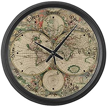 Buy World Map Clock. CafePress  1689 World Map Large 17 Round Wall Clock Unique Decorative Amazon com Custom Fashion Home Old