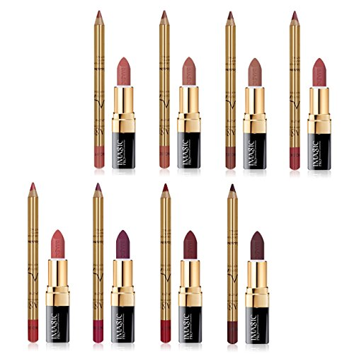 CCbeauty Lip Liner and Lipstick Set of 8 Matte Nude Colors W