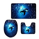 Coloranimal Home Decorative Comfort Area Rug Sets 3 Piece Bath Rug Set Cute Animal Dolphin Pattern Bathroom Rugs Non Slip Memory Foam Large Bath Mats