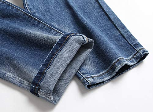51odHwz30IL. AC AITITIA Men's Biker Zipper Deco Washed Straight Fit Jeans    Product Description