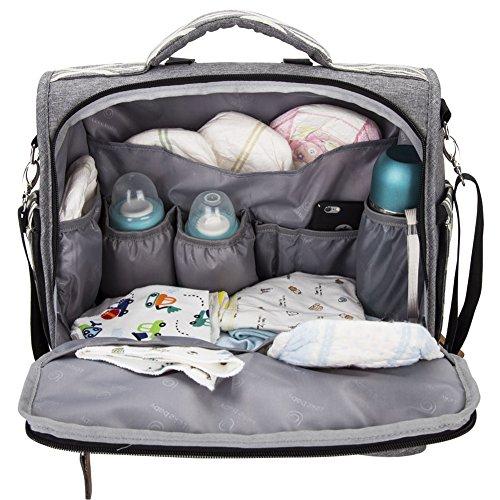 Lekebaby - bolsa para pañales/cambiador multifuncional, se puede utilizar como mochila y bandolera, color gris