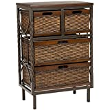 Safavieh American Home Collection Falmouth Dark Walnut and Antiqued Pewter Four Drawer Storage Cabinet