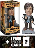 Walking Dead Biker Daryl Dixon Bobble Head Figure x Wacky Wobbler Series + 1 Free Official Trading Card Bundle