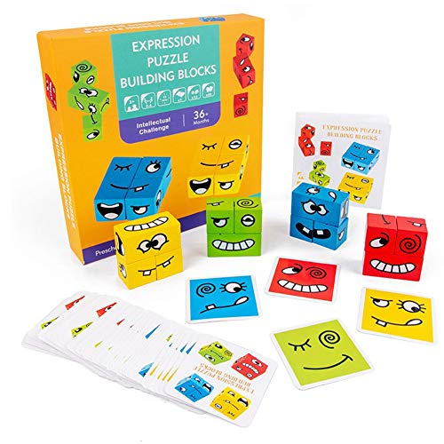 Adurello Wooden Blocks Toy Expressions Matching Puzzles Educational Montessori Toys for Kids Ages 3 Years and Up