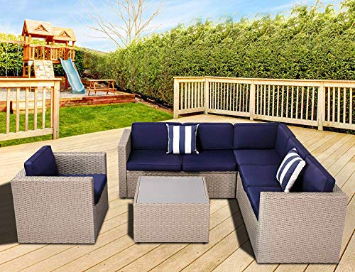SOLAURA 5-Piece Outdoor Sectional Furniture & Lounge Chair Set Grey Wicker with Navy Blue Cushion & Glass Coffee Table (Furniture Cyber Deals Outdoor Monday)