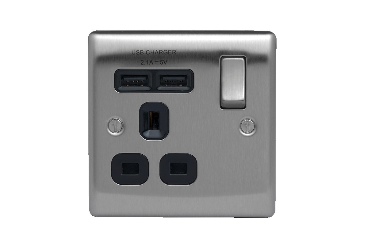 BG Electrical nbs21ug 2.1 A Masterplug Single Socket with 2 x USB, Brushed Steel Grey Insert Screwed BG Electrical Masterplug