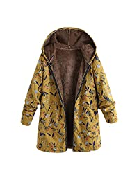 Pervobs Womens Vintage Outwear Coat Floral Thicken Hooded Pockets Coats Overcoat