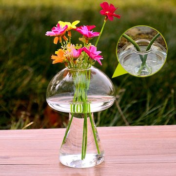 Garden Landscaping & Decking - Mushroom Shape Hydroponic Plants Flower Glass Vase Home Decor - Mushroom Hydroponic Kit Vase Flores Artificial Artificiales Para Decoracion Grandes Azul - 1PCs -