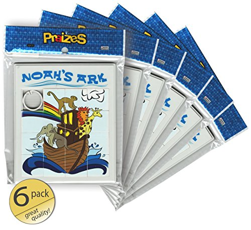 Set of 6 - Quality Noah's Ark Slide Puzzles Large Size - Sunday School Prizes - Religious Prizes - Wholesale Bulk Pack