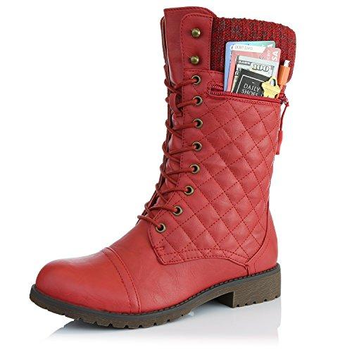 Dailyshoes Womens Bekämpa Stil Upp Fotled Bootie Vadderade Militära Sticka Kreditkorts Kniv Pengar Plånbok Ficka Stövlar Vadderade Röda Pu