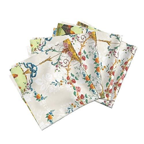 Chicken Toile Linen Cotton Dinner Napkins Chicken Farm Animal Floral Chickens Roosters Toile Vanilla Rococo French Country Flowers Farm by Lilyoake Set of 4 Dinner -