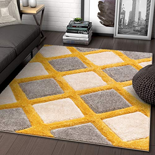 Well Woven Parker Yellow Geometric Boxes Thick Soft Plush 3D Textured Shag Area Rug 8x10 (7'10