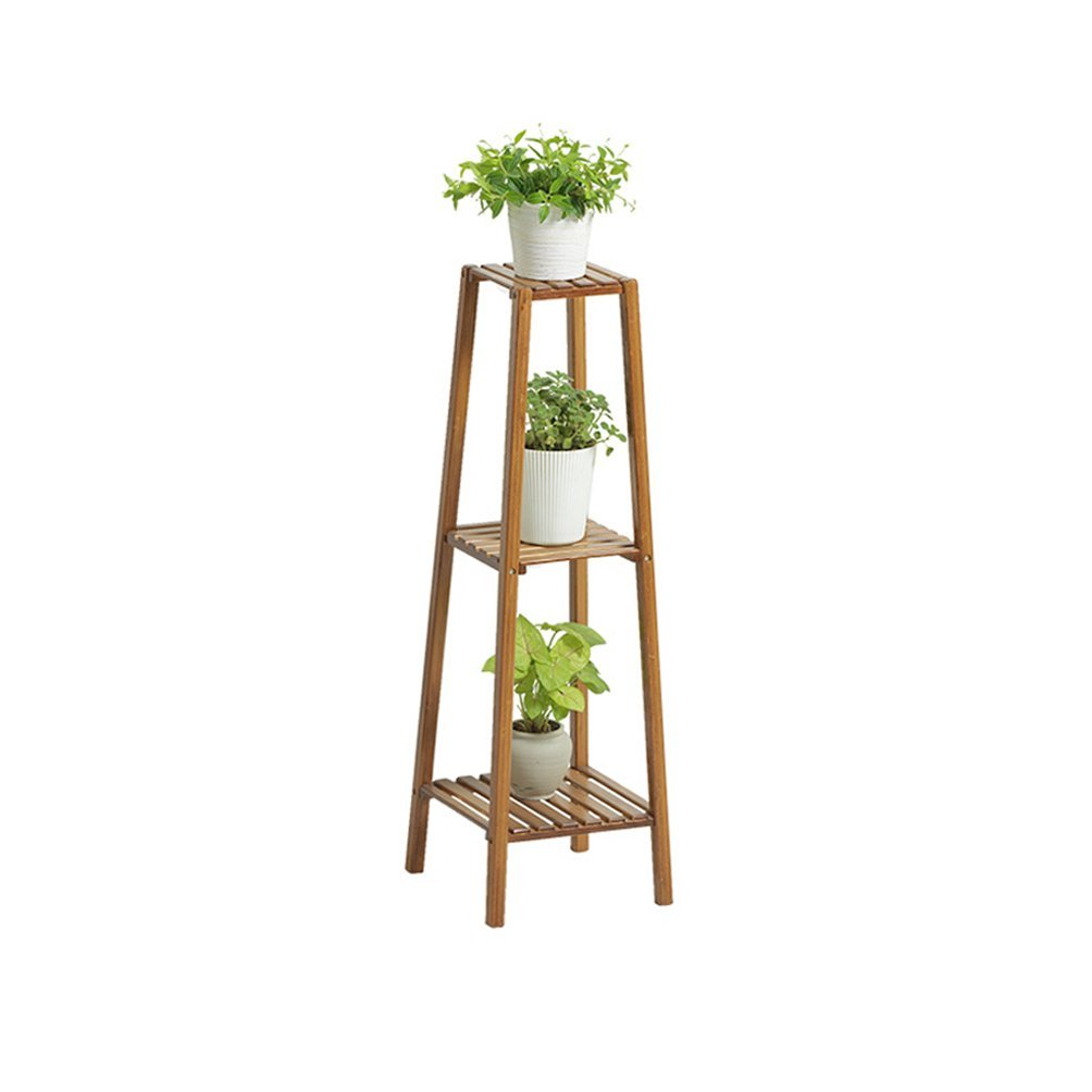 WAN SAN QIAN- Bamboo Floor Stand 2 Tier Tower Flower Stand Bamboo Living Room Folding Flower Rack Balcony Carbonization Flower Frame 70x96cm Flower racks ( Size : 3 layers ) by Flower racks