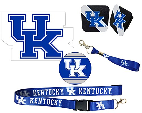 "Kentucky Wildcats Mascot Magnet, 4"" Round Decal, Cloth Key Chain, Lanyard, and Rubber Trailer Hitch Cover Auto Pack"