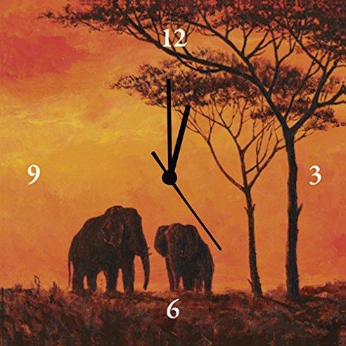 Artland Analoge Wand-Funk-oder Quarz-Uhr Digital-Druck Leinwand auf Holz-Rahmen gespannt mit Motiv Andres Umrisse von Elefanten Tiere Wildtiere Elefant Malerei Orange A3FU