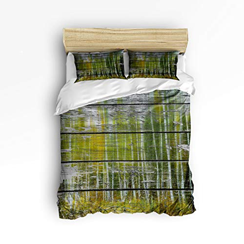 - YEHO Art Gallery Soft Duvet Cover Set Bed Sets for Children Kids Girls Boys,Retro Wood Pattern with Birch Forest Bedding Sets Home Decor,1 Comforter Cover with 2 Pillow Cases,Twin Size
