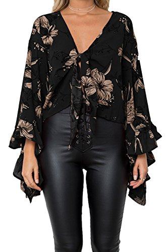 Chemisiers Impression Volant Court Femmes t Sexy Fashion Haut Flare Noir Col T Onlyoustyle Bandage V Sleeve Shirts Blouses Oq8x6w6g
