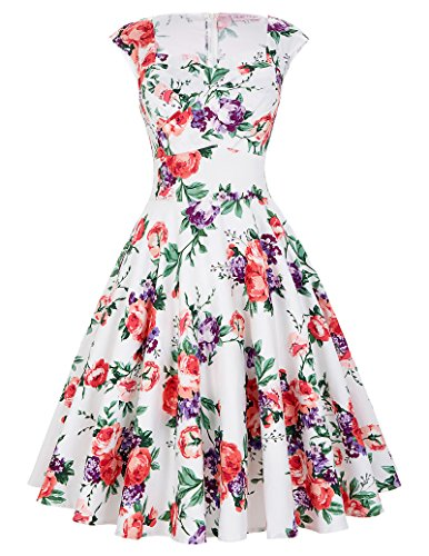 Belle-Poque-Womens-50s-Vintage-Knee-Length-Cap-Shoulder-Swing-Cocktail-Party-Dresses