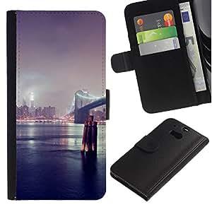 NEECELL GIFT forCITY // Billetera de cuero Caso Cubierta de protección Carcasa / Leather Wallet Case for HTC One M8 // Puente de Nueva York