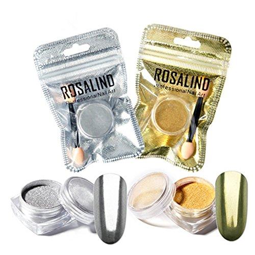 2PCS Nail Glitter Polishing for Nails Mirror Effect Powder Chrome Pigment Decorations Golden/Sliver Nail Powder