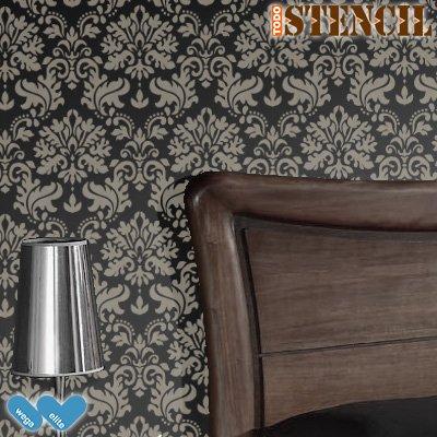 Parete Stencil Damasco 008Tartus. Medium: Stencil 44x 58cm, design 42x 56cm, damasco: 42x 43cm Wega Elite Products