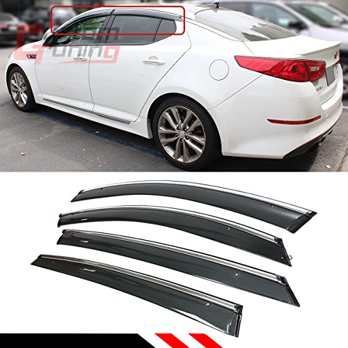 Cuztom Tuning Luxury Clip On Window Visor Guard W/Chrome Trim for 2011-2015 Kia Optima K5