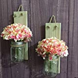 Rustic Wedding Gift, Wood Mason Jar Wall Sconce with Hydrangeas, Wood Candle Holders (With pink flower)
