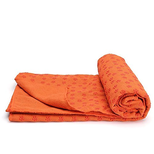 Yoga Mat Towel,Situly Non Slip Yoga Mat Towel With Carrying Mesh Bag, Mat Cover for Bikram, Hot Yoga, Fitness, Exercise, Machine Washable (Orange)