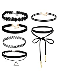 Flongo Womens 6PCS Black Velvet Lace Leather Rope Collar Gothic Cosplay Choker Necklace,Christmas, New Year
