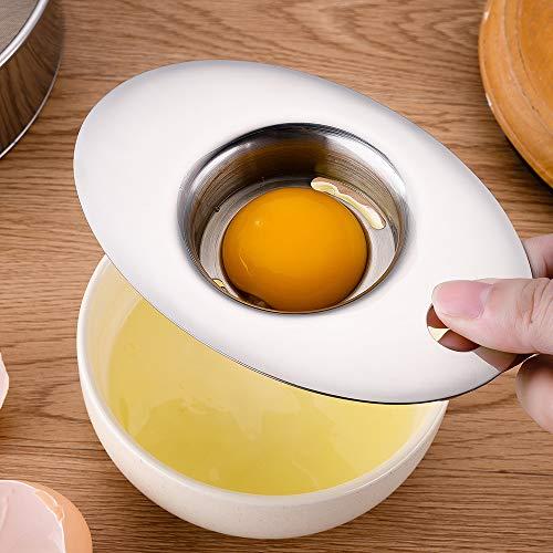 EOPRO Egg Separator, Food Grade 304 Stainless Steel Egg Yolk Separator, Multifunctional Egg Beater Tool For Kitchen, Cake