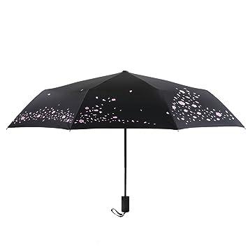 Paraguas Mujer Creativo Plegable Automático Sol Y Lluvia Efecto Completo Negro Plástico Parasol Protector Solar UV