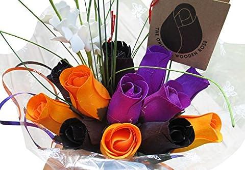 The Original Wooden Rose Black, Orange, and Purple Halloween Bouquets (1 Dozen) …