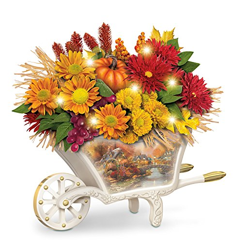 - Thomas Kinkade Lighted Autumn Floral Table Centerpiece by The Bradford Exchange