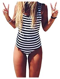 CROSS1946 Sexy Women Monokini Swimsuits stripe One Piece Backless Bikini