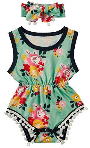 0-6 Months Infant Girls Clothing Set Summer SleevelessColorful Flower Print Romper Jumpsuit + Headband Outfits -