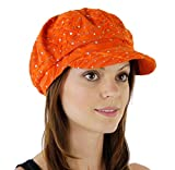 Glitter Sequin Trim Newsboy Style Relaxed Fit Cap, Orange