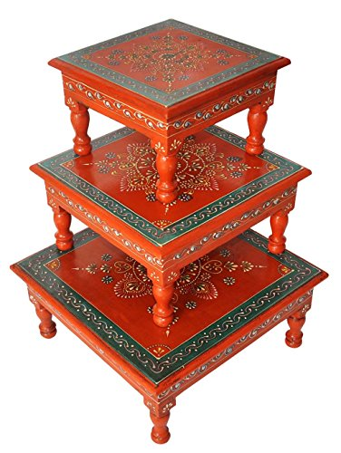 - Rajasthani Handpainted Work Design Puja Chowki & Bajot Set Of 3 Pcs Orange Color