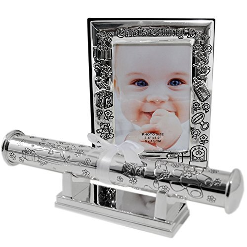 Christening Day Photo Album and Certificate Holder with Stand Gift Set by WDD by wdd
