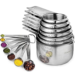 Stainless Steel Measuring Cups and Spoons Set of 17 Pieces - 7 Nesting Cups and 7 Stackable Spoons - Durable Professional Portable Kitchen Set