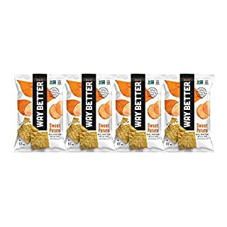 Way Better Snacks Sprouted Gluten Free Whole Grain Corn Tortilla Chips, Simply Sweet Potato, 4 Count