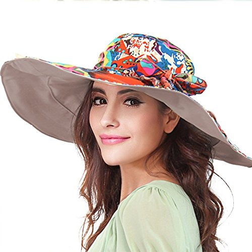 YoungLove Reversible Wide Large Brim Summer Hat Packable Floppy Sun Hat UPF50+