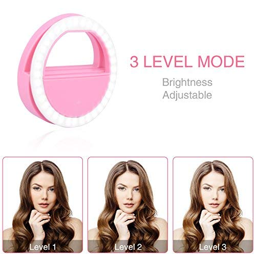Selfie Ring Light, Selfie Light Ring Brightness Rechargeable Selfie Lighting Ring for iPhone Samsung Galaxy by umsky (Image #3)