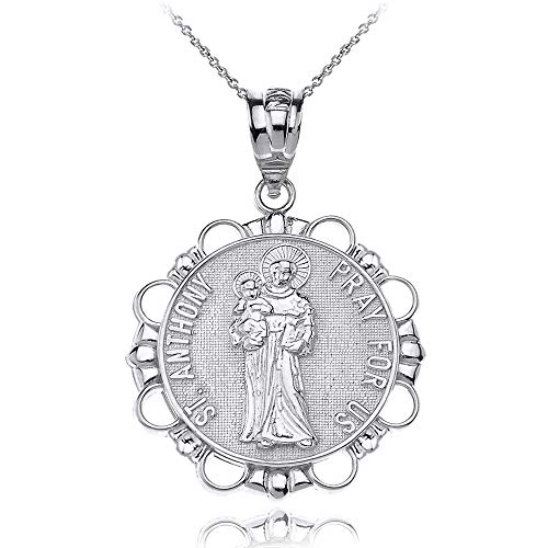 (Sterling Silver Round Saint Anthony Patron of Lost Articles Medal Pendant Necklace, 16