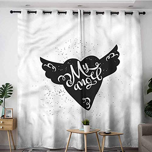 AndyTours Custom Curtains,Romantic Cartoon Winged Heart,W120x72L ()