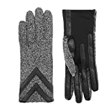 isotoner Women's Spandex Touchscreen Cold Weather Gloves with Warm Fleece Lining and Chevron Details, smartDRI Black Heather, Small / Medium