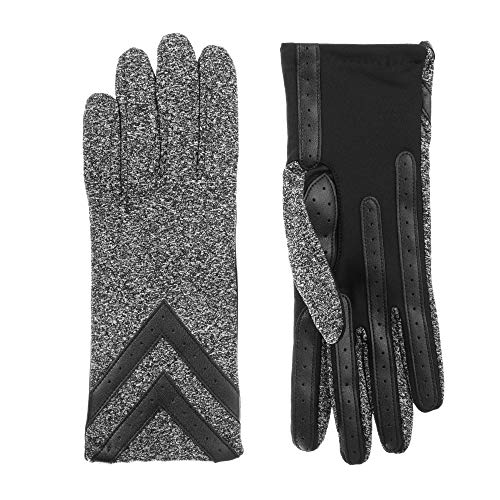 - Isotoner Women's Fleece-Lined Gloves with Chevron Applique and Smart Touch, smartDRI black heather, L/XL